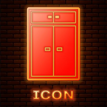 Glowing neon Wardrobe icon isolated on brick wall background. Vector Illustration