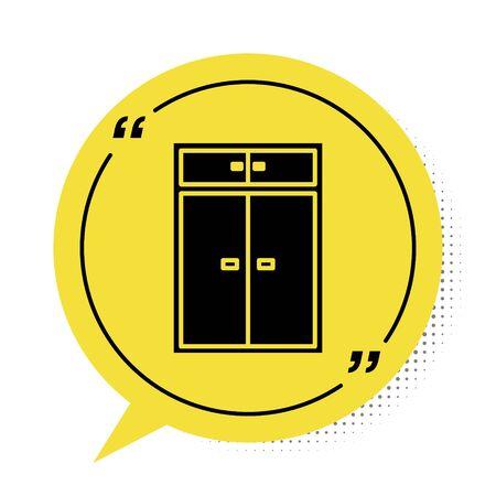 Black Wardrobe icon isolated on white background. Yellow speech bubble symbol. Vector Illustration
