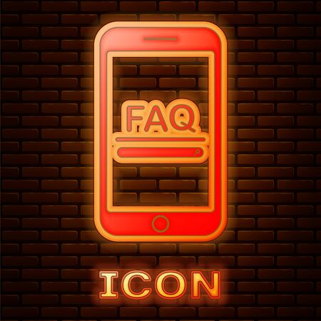 Glowing neon Mobile phone with text FAQ information icon isolated on brick wall background. Frequently asked questions.  Vector Illustration