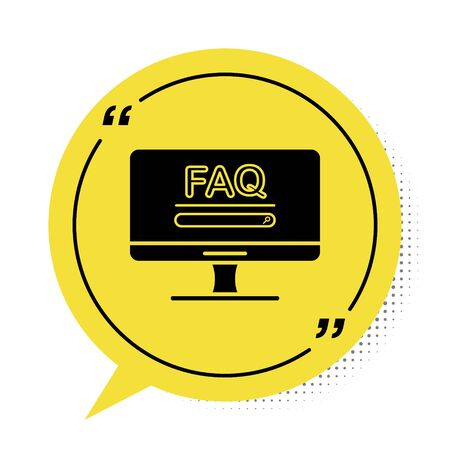 Black Computer monitor with text FAQ information icon isolated on white background. Frequently asked questions. Yellow speech bubble symbol. Vector Illustration  イラスト・ベクター素材
