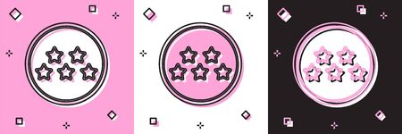 Set Five stars customer product rating review icon isolated on pink and white, black background. Favorite, best rating, award symbol.  Vector Illustration Stock Illustratie
