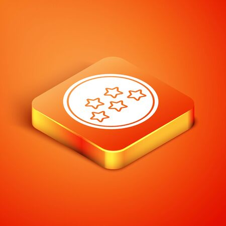 Isometric Five stars customer product rating review icon isolated on orange background. Favorite, best rating, award symbol.  Vector Illustration