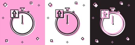 Set Stopwatch icon isolated on pink and white, black background. Time timer sign. Chronometer sign. Vector Illustration