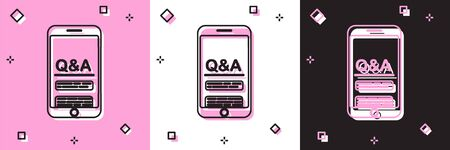 Set Mobile phone with Question and Exclamation icon isolated on pink and white, black background. Frequently asked questions. Vector Illustration
