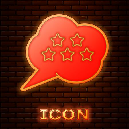 Glowing neon Five stars customer product rating review icon isolated on brick wall background. Favorite, best rating, award symbol. Vector Illustration