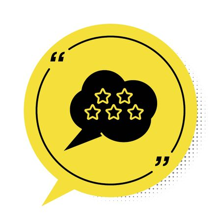 Black Five stars customer product rating review icon isolated on white background. Favorite, best rating, award symbol. Yellow speech bubble symbol. Vector Illustration Stock Illustratie