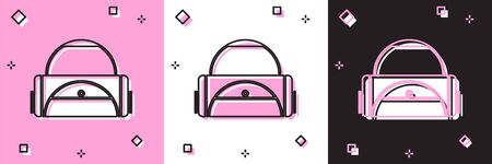 Set Sport bag icon isolated on pink and white, black background. Vector Illustration