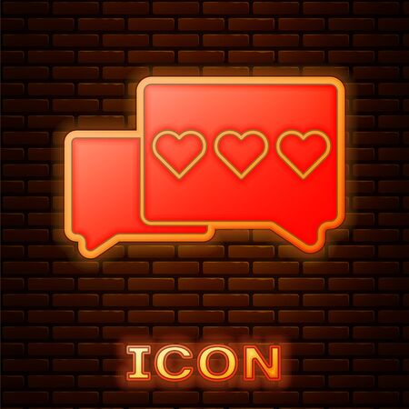 Glowing neon Like and heart icon isolated on brick wall background. Counter Notification Icon. Follower Insta. Vector Illustration