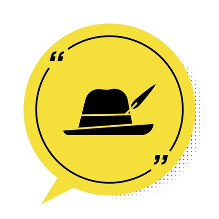 Black Oktoberfest hat icon isolated on white background. Hunter hat with feather. German hat. Yellow speech bubble symbol. Vector Illustration
