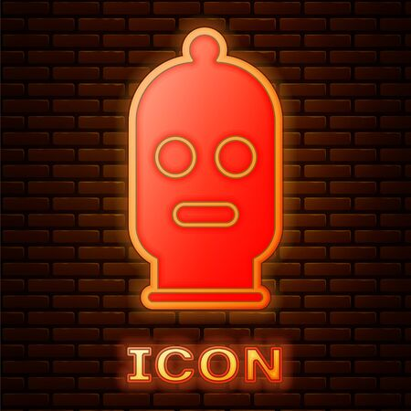 Glowing neon Balaclava icon isolated on brick wall background. A piece of clothing for winter sports or a mask for a criminal or a thief. Vector Illustration