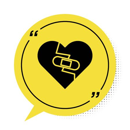 Black Healed broken heart or divorce icon isolated on white background. Shattered and patched heart. Love symbol. Valentines day. Yellow speech bubble symbol. Vector Illustration