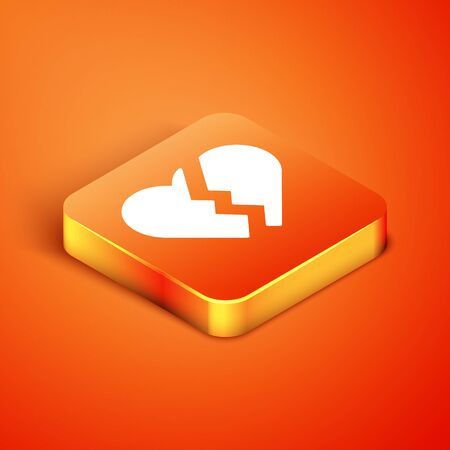 Isometric Broken heart or divorce icon isolated on orange background. Love symbol. Valentines day. Vector Illustration