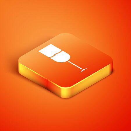 Isometric Wine glass icon isolated on orange background. Wineglass icon. Goblet symbol. Glassware sign. Vector Illustration