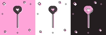 Set Lollipop icon isolated on pink and white, black background. Candy sign. Food, delicious symbol. Valentines day. Love symbol. Vector Illustration