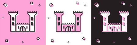 Set Castle icon isolated on pink and white, black background. Fortress sign. Vector Illustration