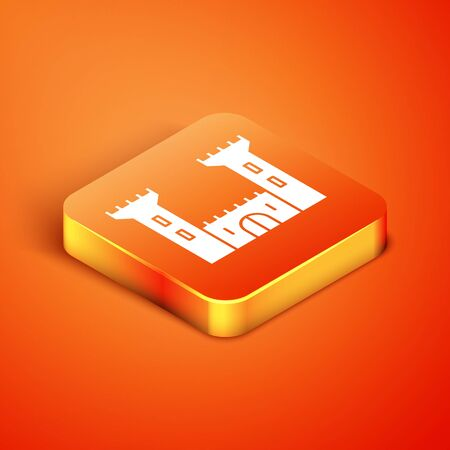 Isometric Castle icon isolated on orange background. Fortress sign. Vector Illustration