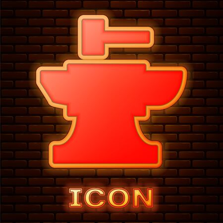 Glowing neon Anvil for blacksmithing and hammer icon isolated on brick wall background. Metal forging. Forge tool. Vector Illustration  イラスト・ベクター素材