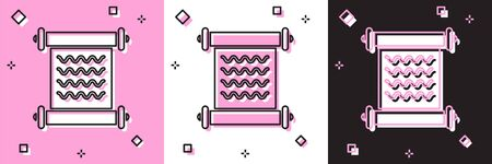Set Decree, paper, parchment, scroll icon icon isolated on pink and white, black background. Vector Illustration