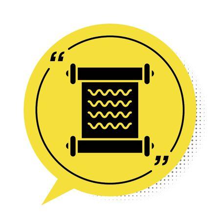 Black Decree, paper, parchment, scroll icon icon isolated on white background. Yellow speech bubble symbol. Vector Illustration Ilustração