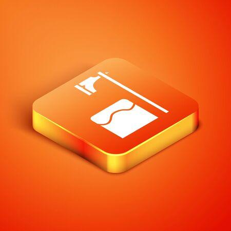 Isometric Executioner axe in tree block icon isolated on orange background. Hangman, torturer, executor, tormentor, butcher, headsman. Vector Illustration Stock Illustratie