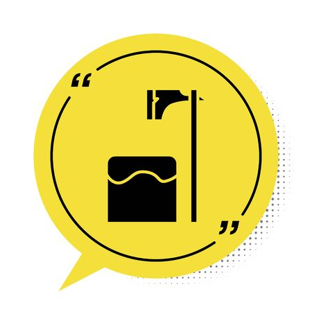 Black Executioner axe in tree block icon isolated on white background. Hangman, torturer, executor, tormentor, butcher, headsman. Yellow speech bubble symbol. Vector Illustration