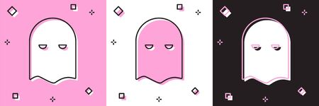 Set Executioner mask icon isolated on pink and white, black background. Hangman, torturer, executor, tormentor, butcher, headsman icon. Vector Illustration
