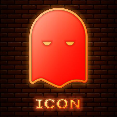 Glowing neon Executioner mask icon isolated on brick wall background. Hangman, torturer, executor, tormentor, butcher, headsman icon. Vector Illustration Stock Illustratie