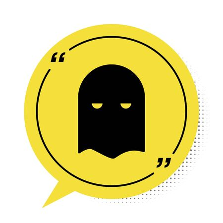 Black Executioner mask icon isolated on white background. Hangman, torturer, executor, tormentor, butcher, headsman icon. Yellow speech bubble symbol. Vector Illustration Иллюстрация