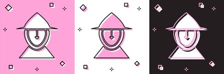 Set Medieval iron helmet for head protection icon isolated on pink and white, black background. Vector Illustration Archivio Fotografico - 139146237
