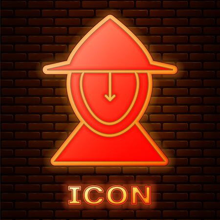 Glowing neon Medieval iron helmet for head protection icon isolated on brick wall background. Vector Illustration Archivio Fotografico - 139146238