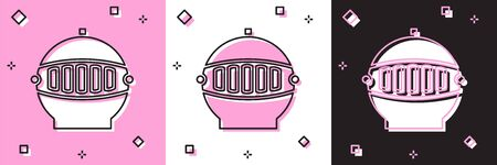 Set Medieval iron helmet for head protection icon isolated on pink and white, black background. Vector Illustration Archivio Fotografico - 139146260