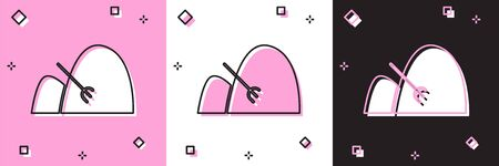 Set Bale of hay and rake icon isolated on pink and white, black background. Vector Illustration
