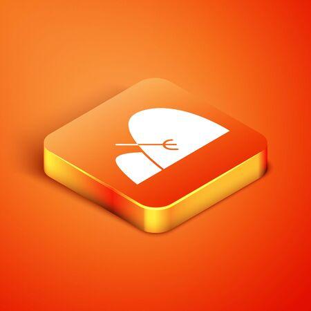 Isometric Bale of hay and rake icon isolated on orange background. Vector Illustration
