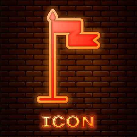 Glowing neon Medieval flag icon isolated on brick wall background. Country, state, or territory ruled by a king or queen. Vector Illustration Illustration