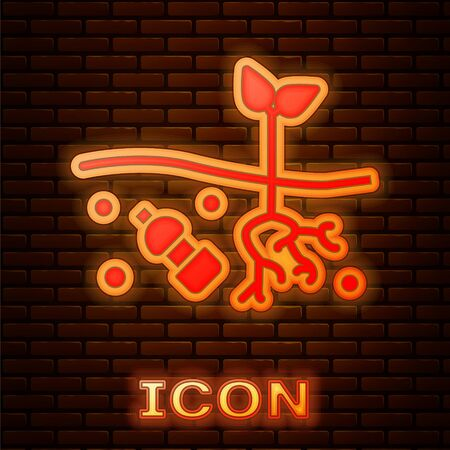 Glowing neon The problem of pollution of the planet icon isolated on brick wall background. The garbage, plastic, bags on the planet. Vector Illustration