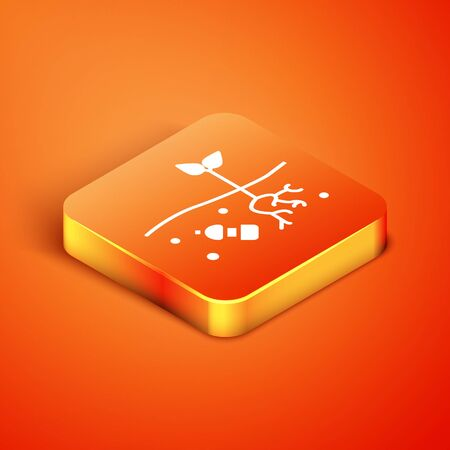 Isometric The problem of pollution of the planet icon isolated on orange background. The garbage, plastic, bags on the planet. Vector Illustration Illustration
