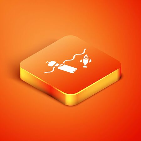 Isometric The problem of pollution of the ocean icon isolated on orange background. The garbage, plastic, bags on the sea. Vector Illustration