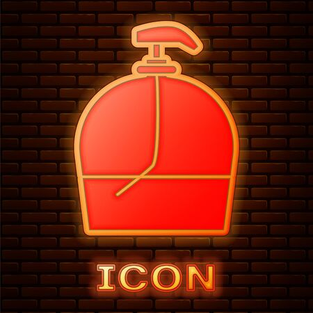 Glowing neon Bottle of liquid antibacterial soap with dispenser icon isolated on brick wall background. Disinfection, hygiene, skin care. Vector Illustration Illustration