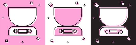 Set Electronic scales icon isolated on pink and white, black background. Weight measure equipment.  Vector Illustration