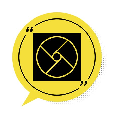Black Ventilation icon isolated on white background. Yellow speech bubble symbol. Vector Illustration Illustration