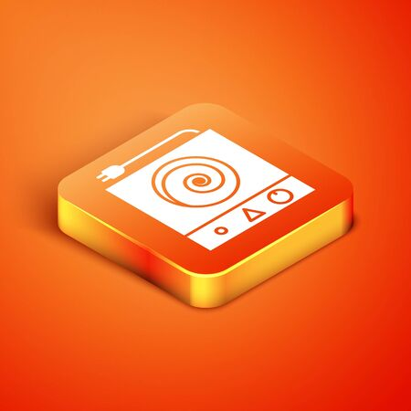 Isometric Electric stove icon isolated on orange background. Cooktop sign. Hob with four circle burners.  Vector Illustration Illustration