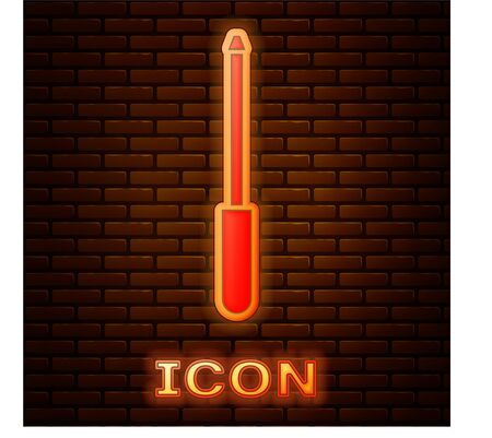 Glowing neon Knife sharpener icon isolated on brick wall background.  Vector Illustration