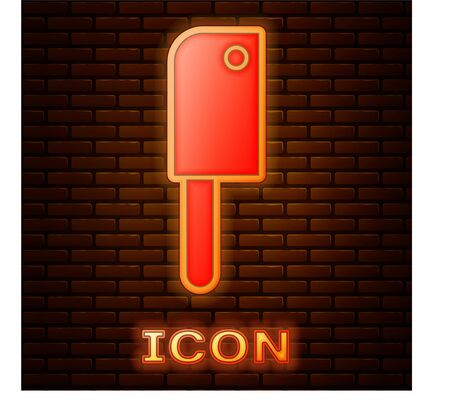 Glowing neon Meat chopper icon isolated on brick wall background. Kitchen knife for meat. Butcher knife.  Vector Illustration