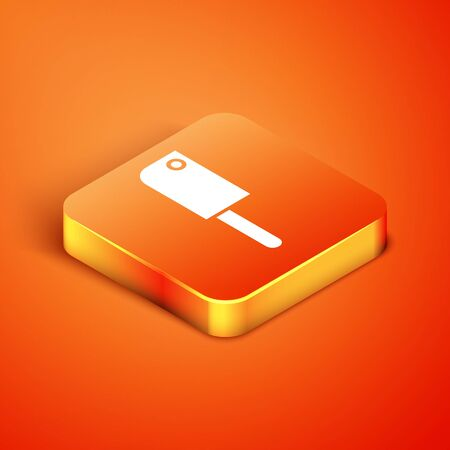 Isometric Meat chopper icon isolated on orange background. Kitchen knife for meat. Butcher knife.  Vector Illustration