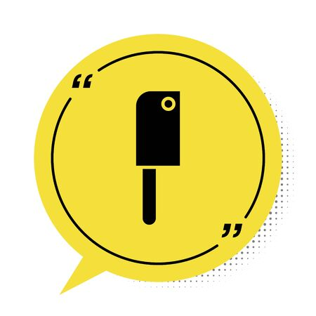 Black Meat chopper icon isolated on white background. Kitchen knife for meat. Butcher knife. Yellow speech bubble symbol. Vector Illustration Stock Illustratie