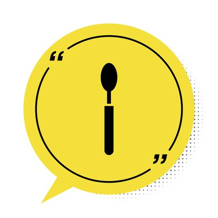 Black Spoon icon isolated on white background. Cooking utensil. Cutlery sign. Yellow speech bubble symbol. Vector Illustration Illusztráció