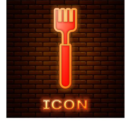 Glowing neon Fork icon isolated on brick wall background. Cutlery symbol.  Vector Illustration  イラスト・ベクター素材