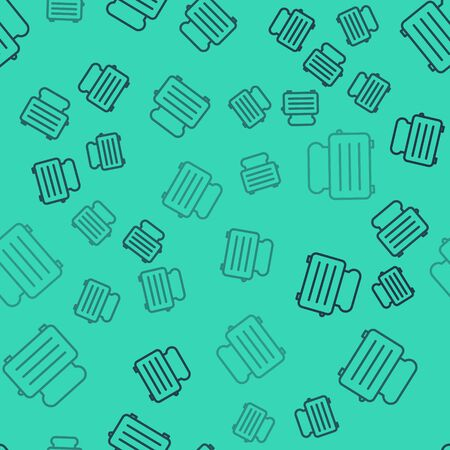 Black line Toaster with toasts icon isolated seamless pattern on green background.  Vector Illustration Illustration