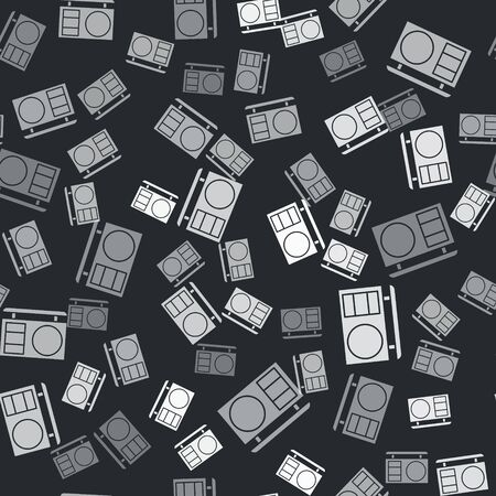 Grey Eye shadow palette with brush icon isolated seamless pattern on black background.  Vector Illustration Standard-Bild - 139187499