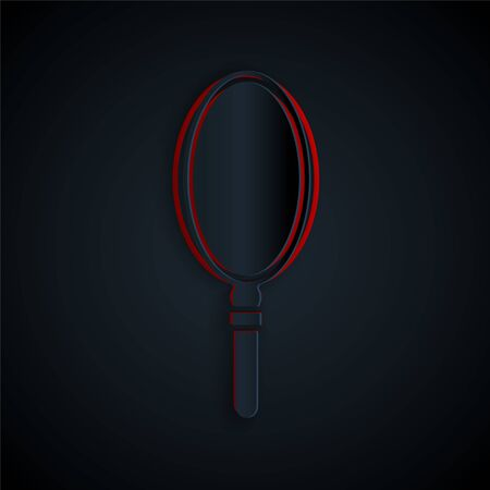Paper cut Hand mirror icon isolated on black background. Paper art style. Vector Illustration